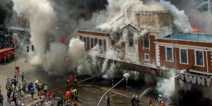 Firefighters battle to control the Nakumatt Downtown Fire. [Image from www.ictfire.com]