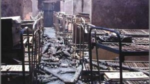 The macabre site in the dorm the morning after an arsonist set a dormitory ablaze at Kyanguli Secondary. [Image source unknown]