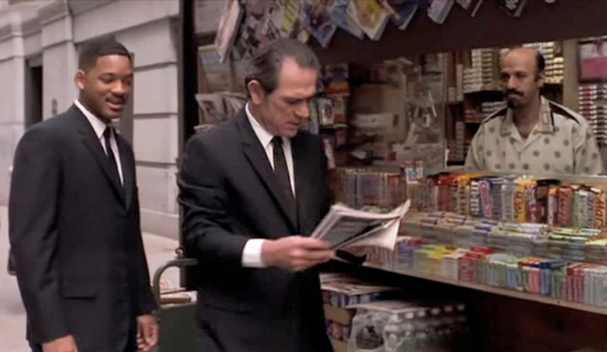 The scene in Men in Black where Agent K makes the WWN plug-in. As a franchise that requires the viewer to suspend disbelief, the partnership with WWN was apt.