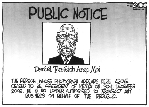 A copy of the cartoon Gado drew when Moi left the presidency in 2002.