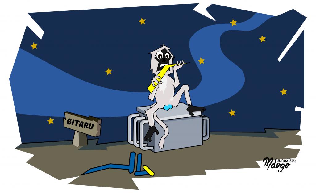 ..except the monkey. The monkey has other plans. Illustration by Bwana Mdogo