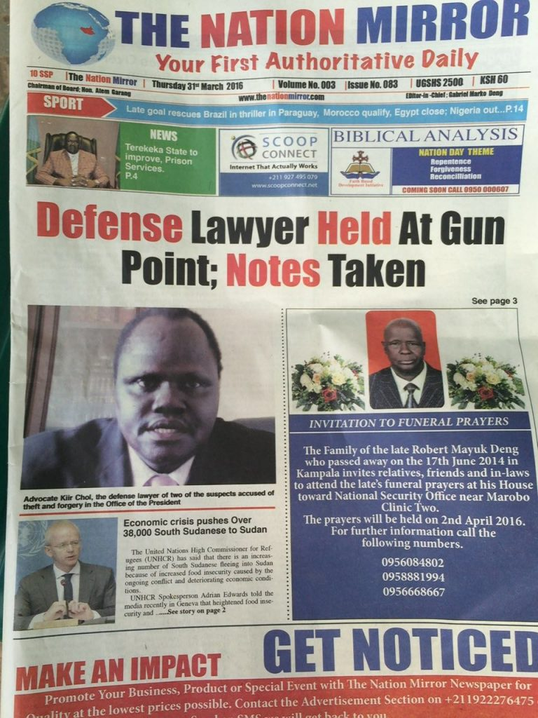 Kiir threatened - pg 1